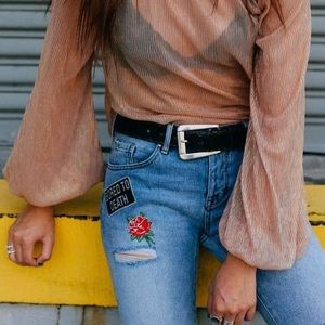 Pacsun Patched Girlfriend Jeans Light Wash